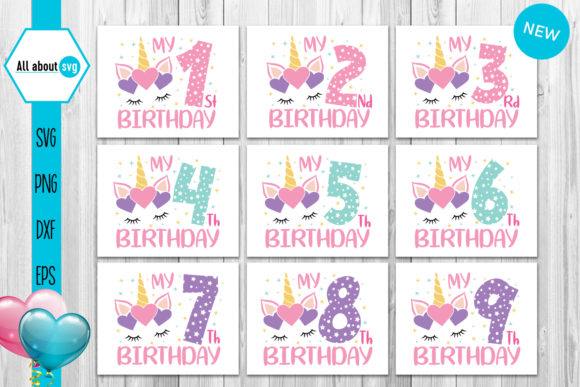 Unicorn Birthday Numbers Bundle Graphic By All About Svg