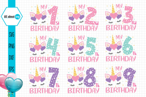 Download Free Unicorn Birthday Numbers Bundle Graphic By All About Svg for Cricut Explore, Silhouette and other cutting machines.