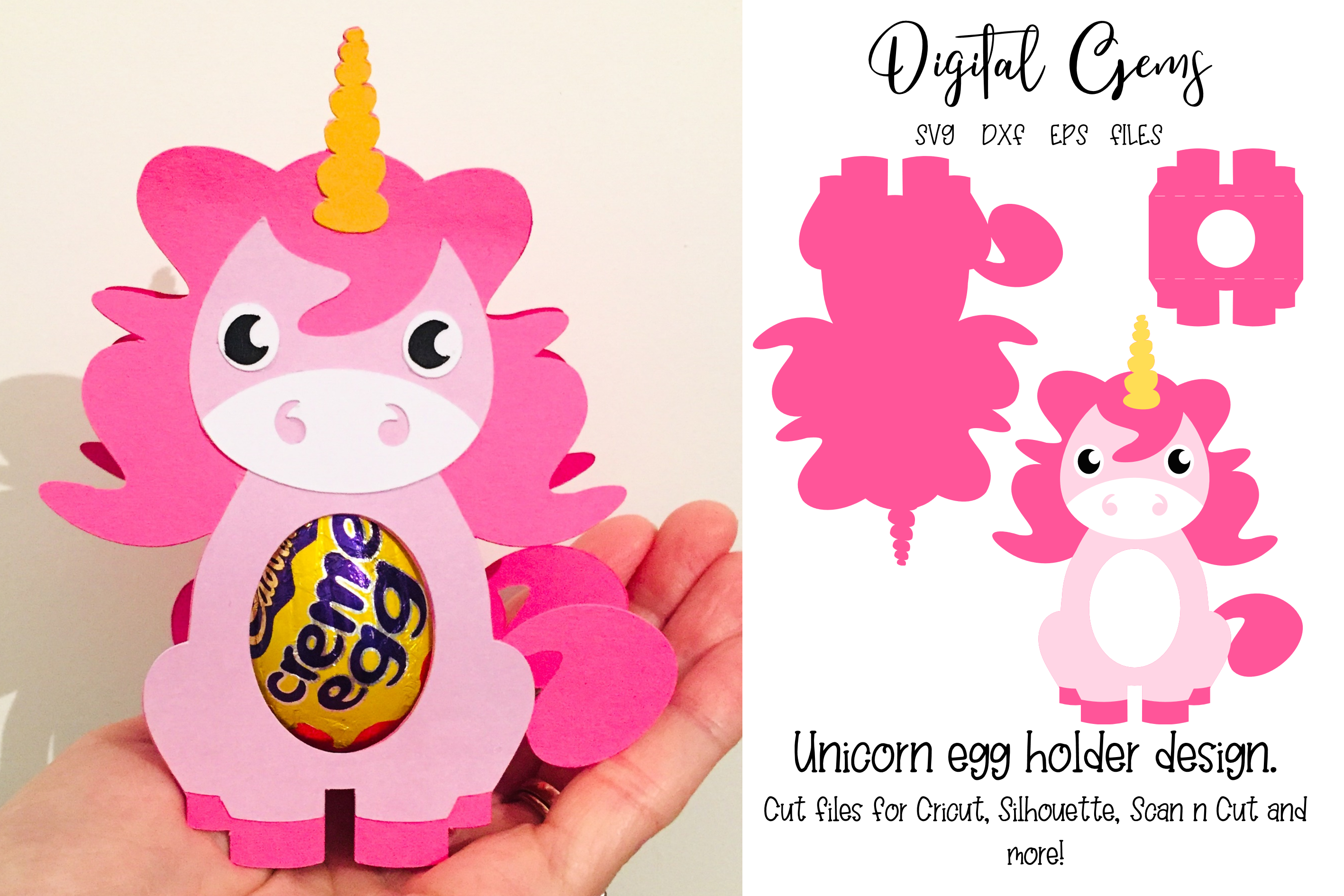 Download Free Unicorn Egg Holder Design Graphic By Digital Gems Creative Fabrica for Cricut Explore, Silhouette and other cutting machines.
