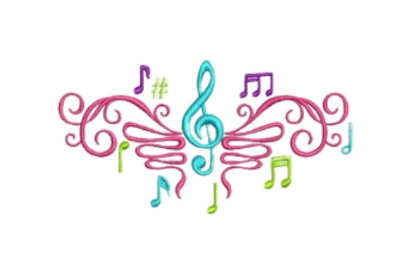Music Notation Music Embroidery Design By designsbymira