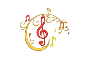 Music Notes Musik Stickdesign von designsbymira