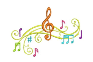 Musical Chord Music Embroidery Design By designsbymira
