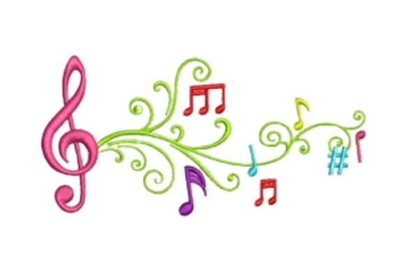 Musical Notes Musik Stickdesign von designsbymira