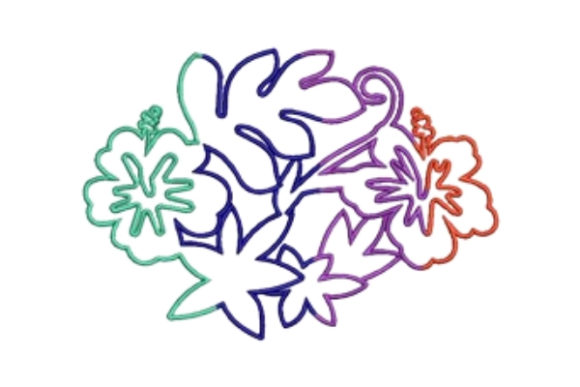 Rainbow Floral Outline Flowers Embroidery Design By designsbymira