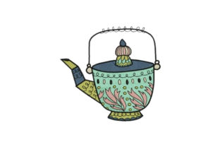Vintage Pot Tea & Coffee Embroidery Design By designsbymira
