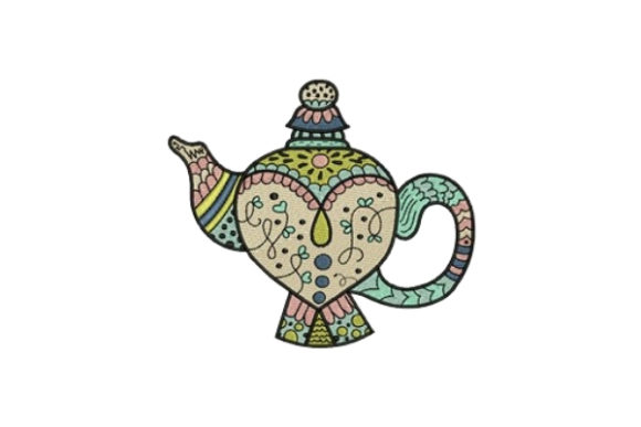 Vintage Tea Pot Tea & Coffee Embroidery Design By designsbymira