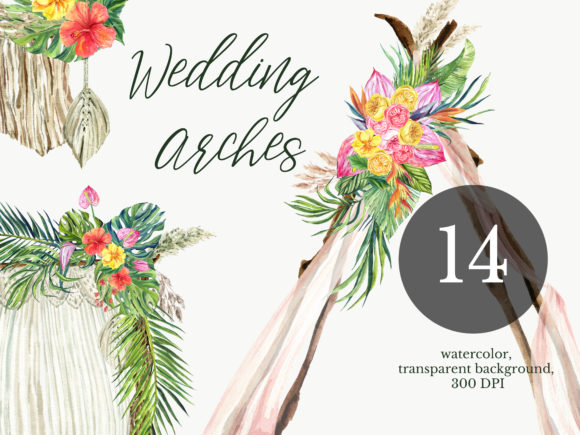 Download Free Watercolor Arch Boho Wedding Clipart Graphic By Lena Dorosh for Cricut Explore, Silhouette and other cutting machines.