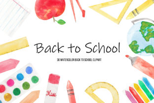 Watercolor Back to School Clipart Graphic Illustrations By BonaDesigns