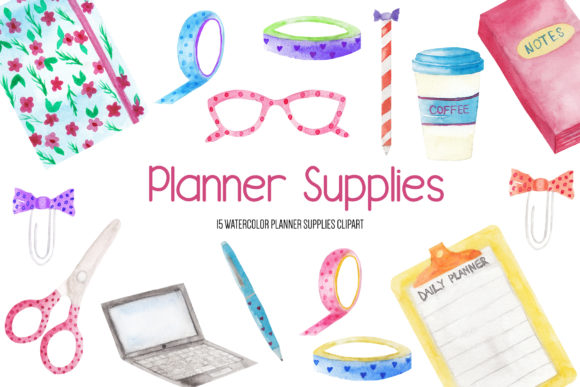 Watercolor Planner Supplies Clipart Graphic Illustrations By BonaDesigns