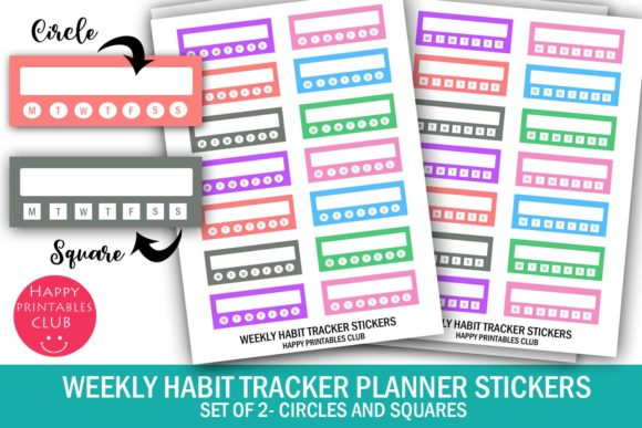 Print on Demand: Weekly Habit Tracker Planner Stickers Graphic Crafts By Happy Printables Club