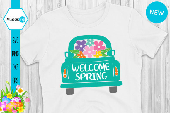 Download Free Welcome Spring Truck Graphic By All About Svg Creative Fabrica for Cricut Explore, Silhouette and other cutting machines.