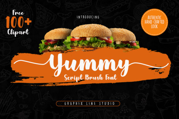 Print on Demand: Yummy Script & Handwritten Font By Graphix Line Studio