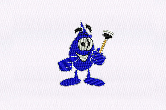 Blue Droplet Cleaning Embroidery Design By DigitEMB
