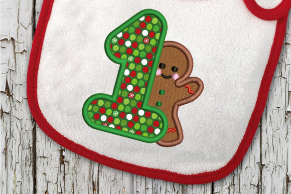 First Christmas Gingerbread Man Applique Christmas Embroidery Design By DesignedByGeeks