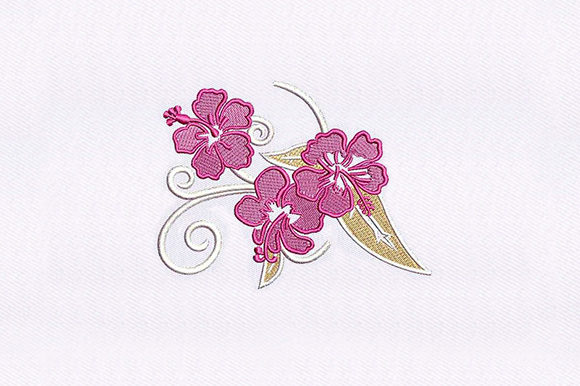 Pink Rosemallows Single Flowers & Plants Embroidery Design By DigitEMB