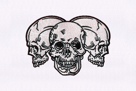 Three Skulls Head Halloween Embroidery Design By DigitEMB