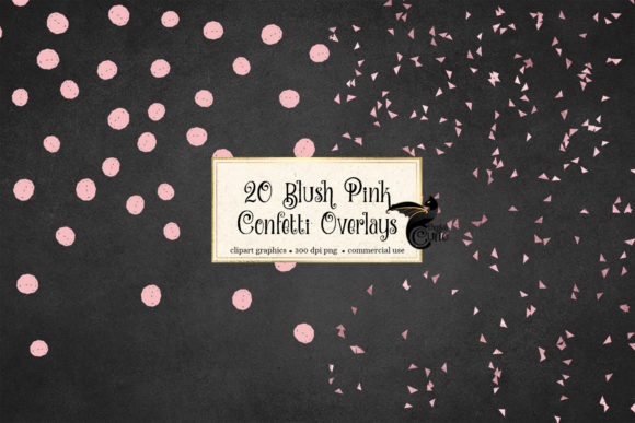 Print on Demand: 20 Blush Pink Confetti Overlays Graphic Objects By Digital Curio