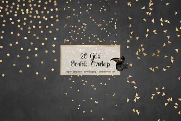 Print on Demand: 20 Gold Confetti Overlays Graphic Objects By Digital Curio