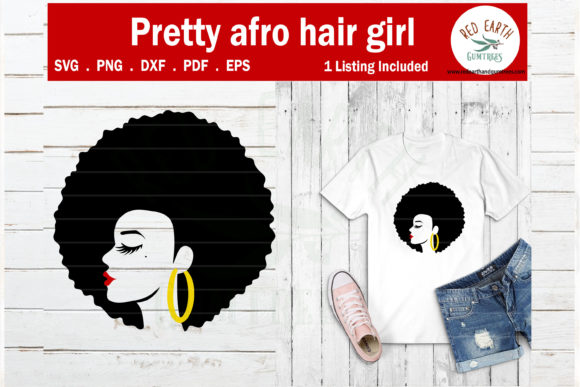 Download Free Afro Hair Woman African American Graphic By Redearth And Gumtrees Creative Fabrica for Cricut Explore, Silhouette and other cutting machines.