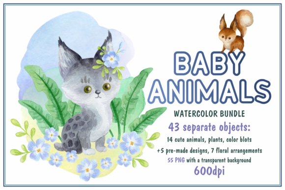 Print on Demand: Baby Animals Bundle - Watercolor Clip Art Graphic Illustrations By Olga Belova