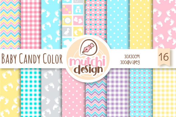 Print on Demand: Baby Candy Colors Digital Papers Graphic Backgrounds By Mutchi Design