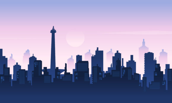 Download Free Background City Silhouette Graphic By Cityvector91 Creative for Cricut Explore, Silhouette and other cutting machines.