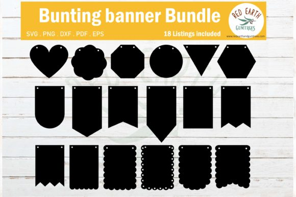 Banner Bunting Templates for Party  Graphic Crafts By redearth and gumtrees