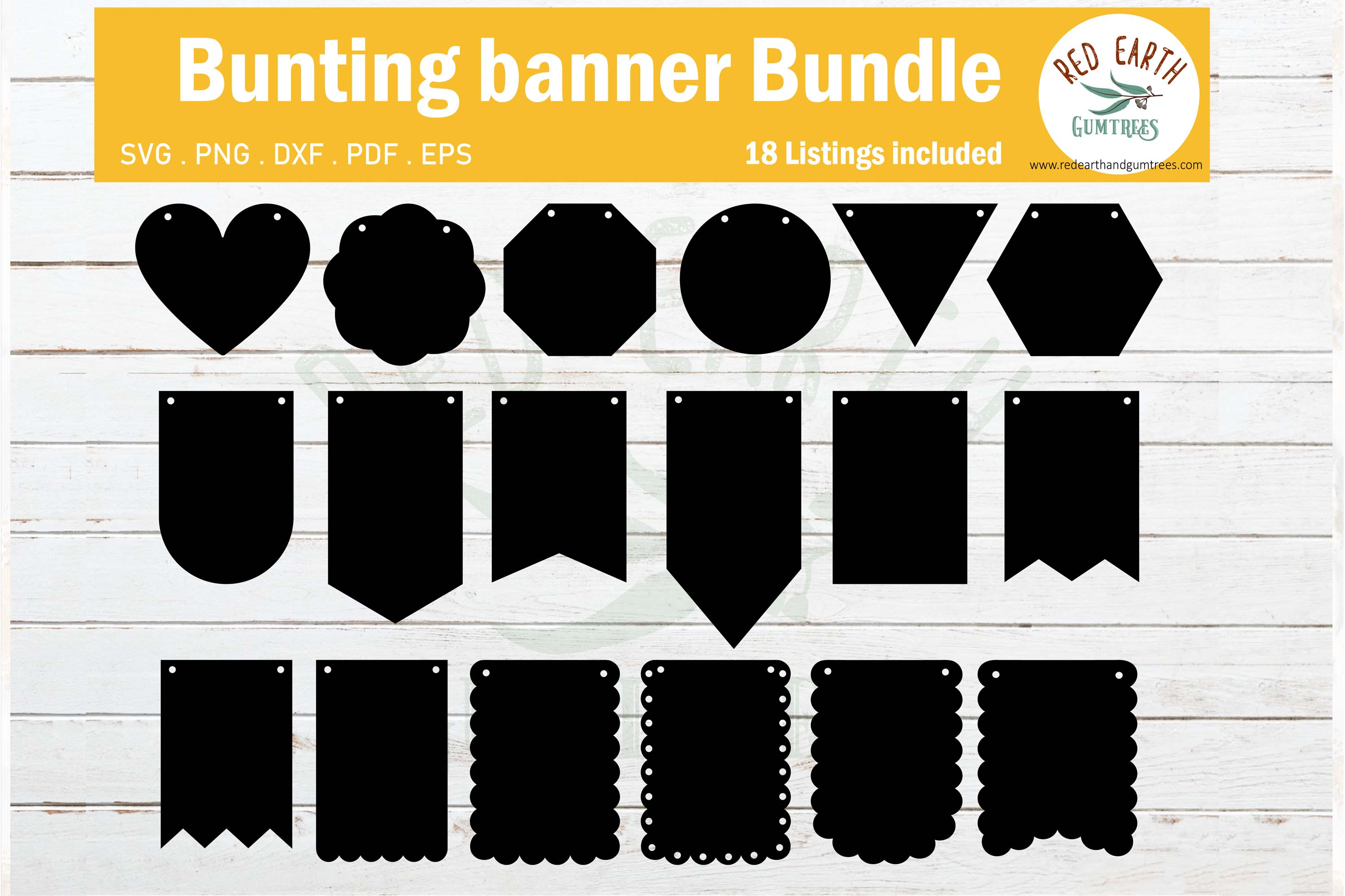 Download Free Banner Bunting Templates For Party Graphic By Redearth And for Cricut Explore, Silhouette and other cutting machines.