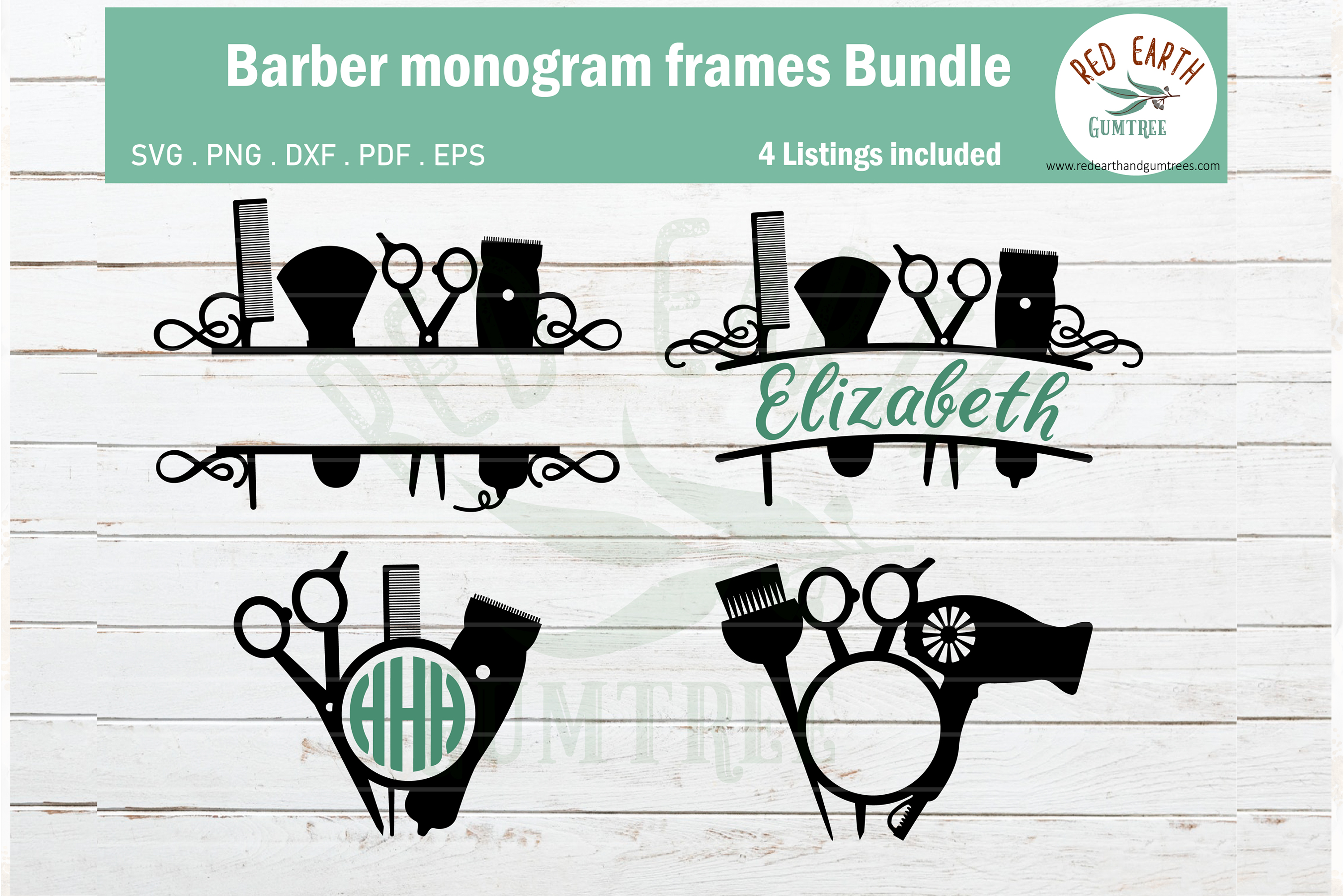 Download Free Barber Hairstylist Monogram Bundle Graphic By Redearth And for Cricut Explore, Silhouette and other cutting machines.