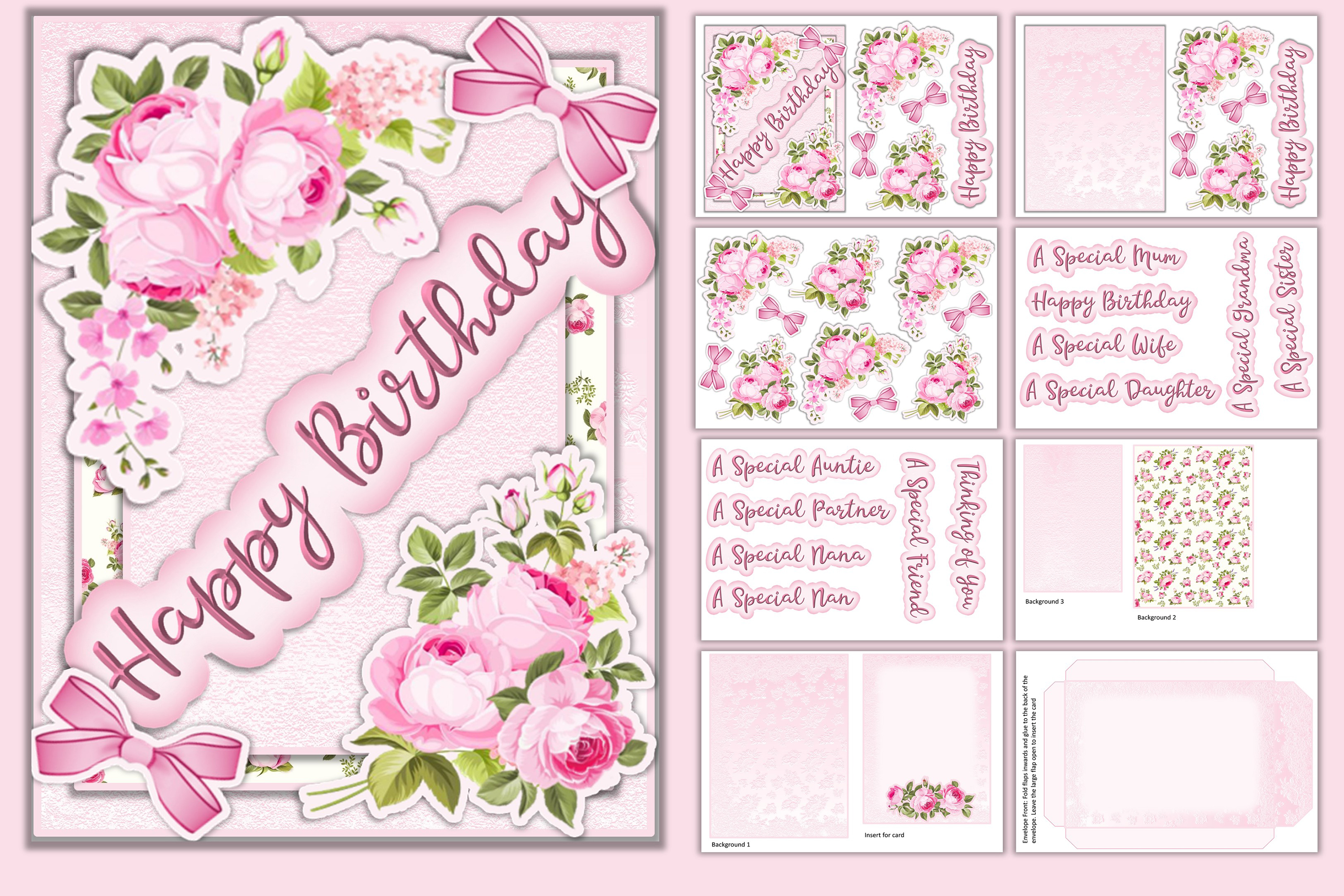 Download Free Birthday Card 12 Tags Insert Envelope Graphic By The Paper Princess Creative Fabrica for Cricut Explore, Silhouette and other cutting machines.