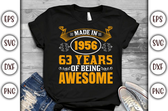 Print on Demand: Birthday T-shirt Design- Made in 1956 Graphic Product Mockups By GraphicsBooth