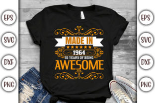 Print on Demand: Birthday T-shirt Design- Made in 1964 Graphic Print Templates By GraphicsBooth