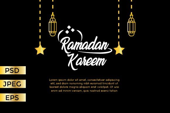 Download Free Black Ramadan Greeting Card Graphic By Griyolabs Creative Fabrica for Cricut Explore, Silhouette and other cutting machines.