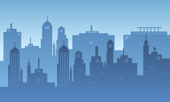 Download Free Blue Sky Gradient From A City Silhouette Graphic By Cityvector91 for Cricut Explore, Silhouette and other cutting machines.