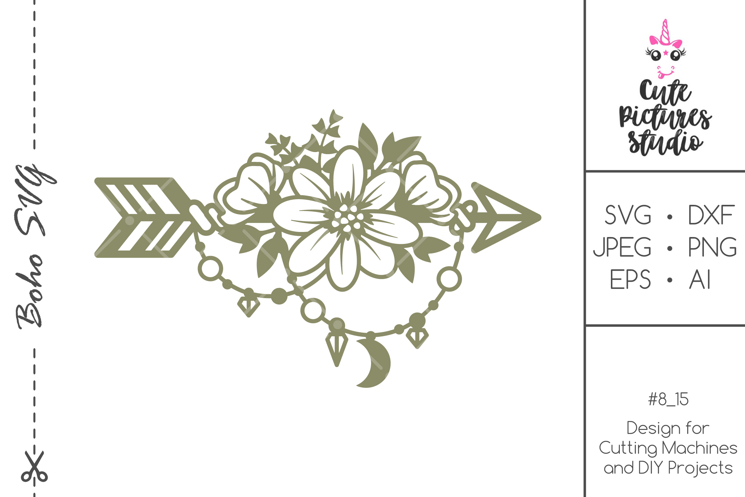 Boho Style Arrow With Flowers Graphic By Cutepicturesstudio