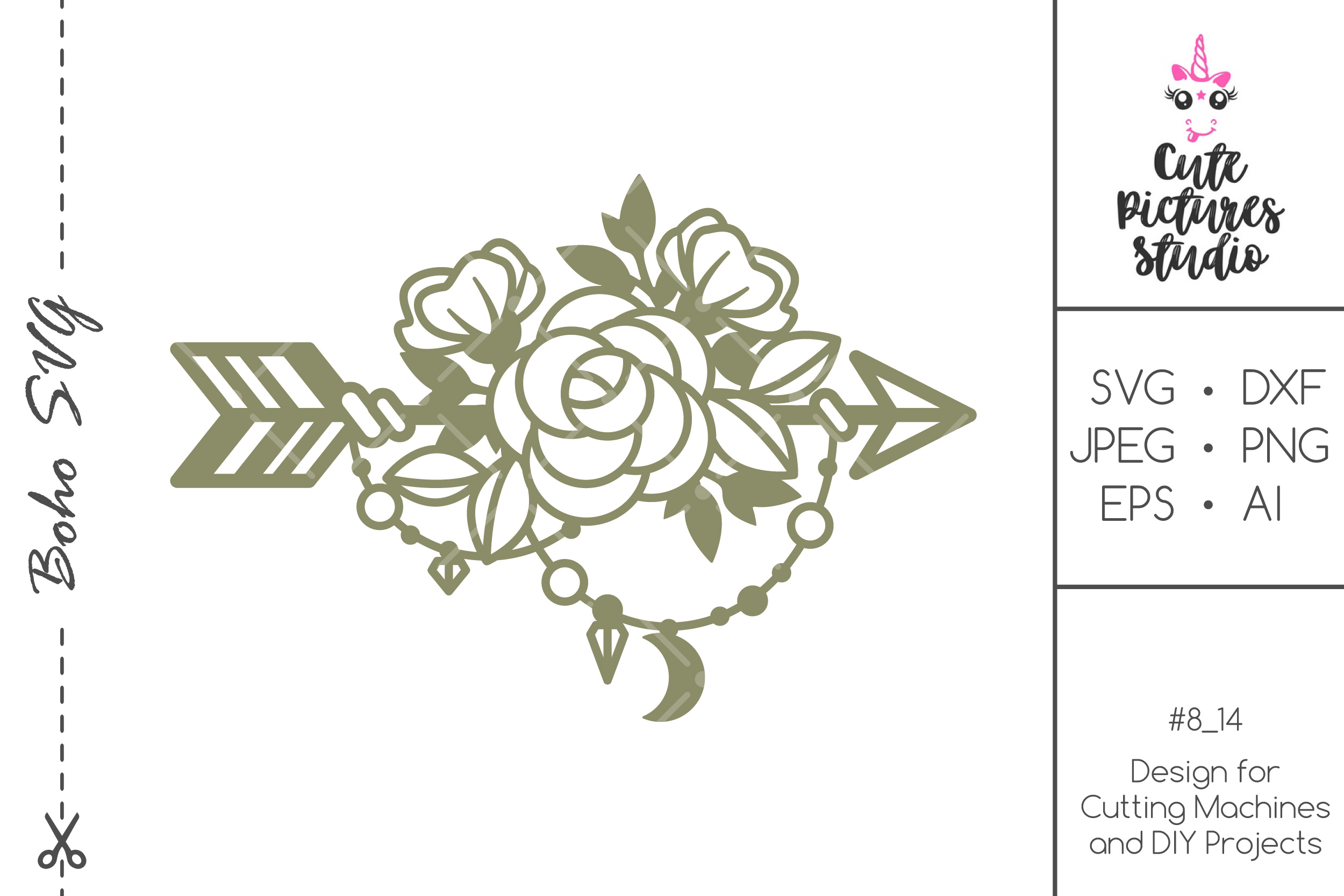 Download Free Boho Style Arrow With Flowers Graphic By Cutepicturesstudio for Cricut Explore, Silhouette and other cutting machines.