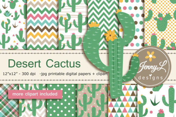 Cactus Desert Digital Papers Graphic Backgrounds By jennyL_designs