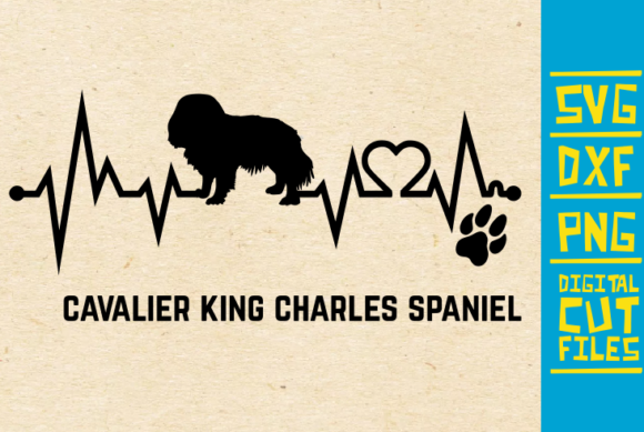 Download Free Cavalier King Charles Spaniel Dog Ekg Graphic By for Cricut Explore, Silhouette and other cutting machines.