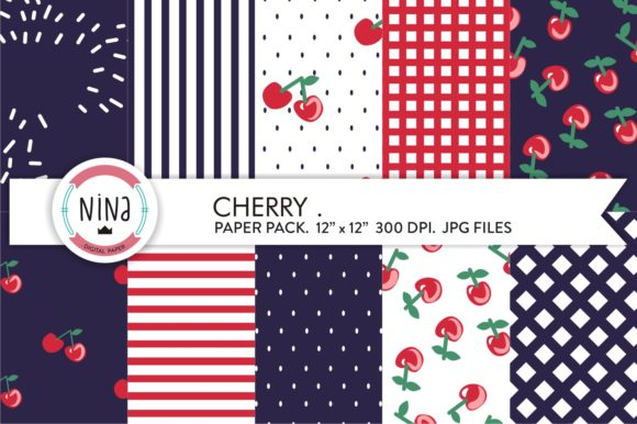 Cherry Digital Paper Pack, Cherries Graphic Patterns By Nina Prints