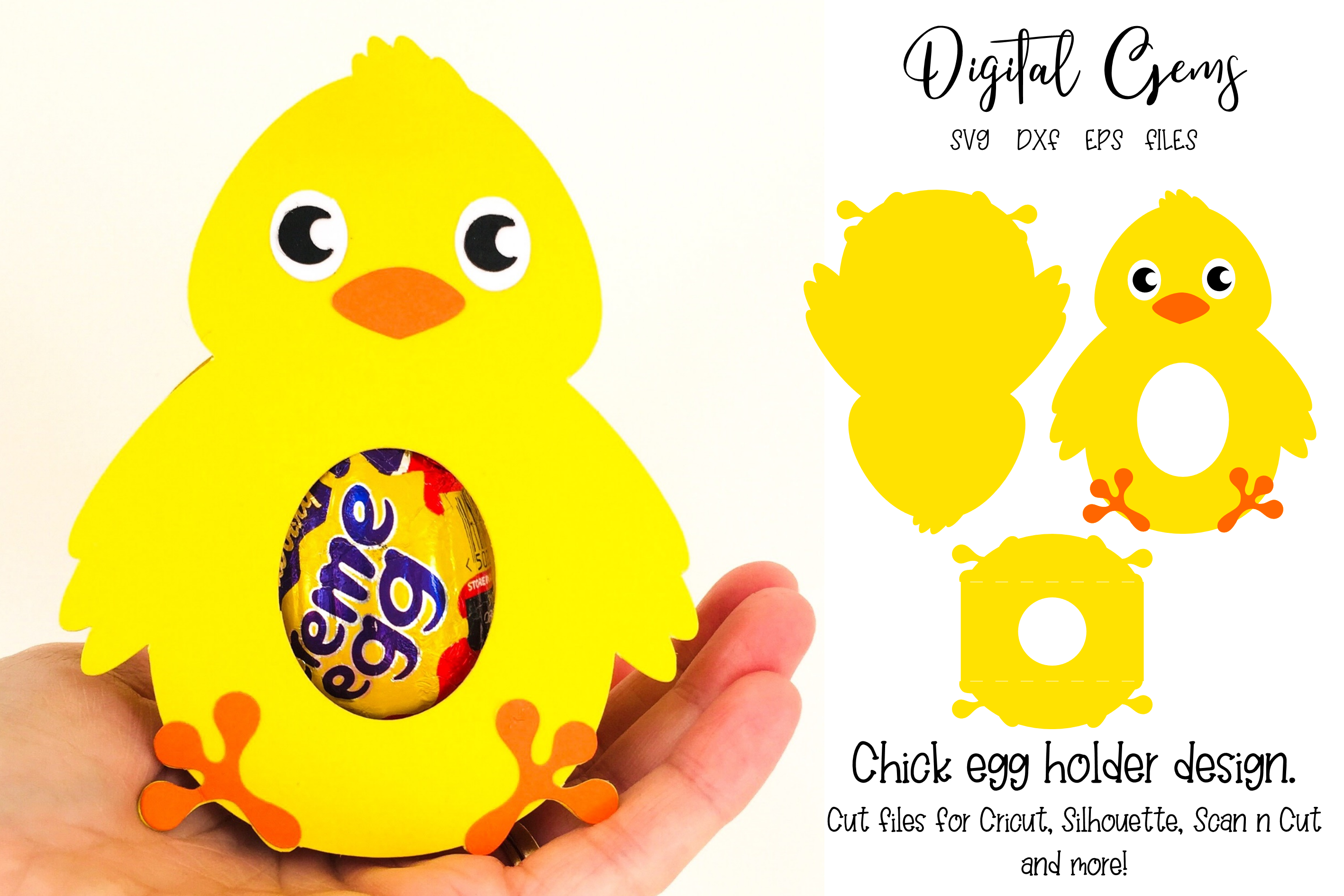 Download Free Chick Egg Holder Design Graphic By Digital Gems Creative Fabrica for Cricut Explore, Silhouette and other cutting machines.
