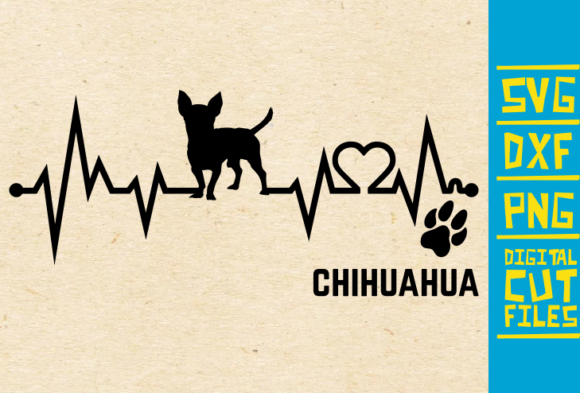 Download Free Chihuahua Dog Ekg Graphic By Svgyeahyouknowme Creative Fabrica for Cricut Explore, Silhouette and other cutting machines.