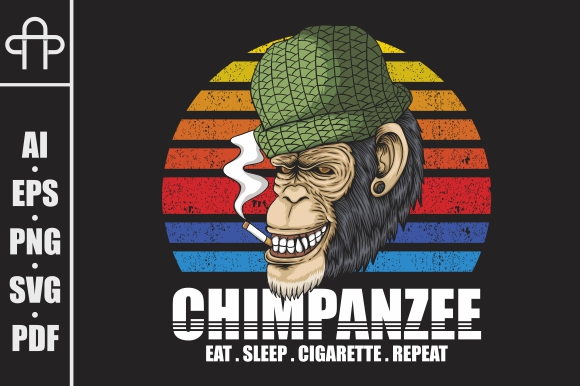 Download Free Chimpanzee Smoke Retro Vector Illustrati Graphic By Andypp for Cricut Explore, Silhouette and other cutting machines.