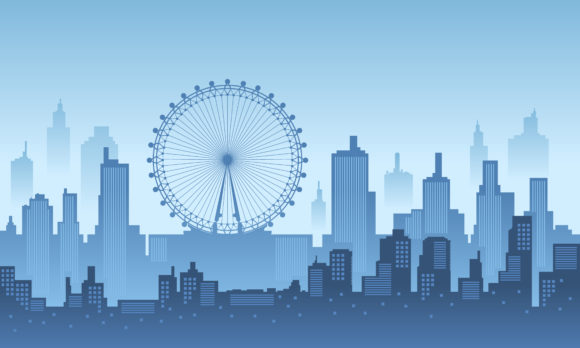 Download Free City Silhouette Of London In The Morning Graphic By Cityvector91 for Cricut Explore, Silhouette and other cutting machines.