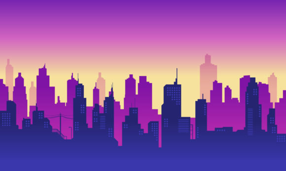 Download Free City Silhouette With Purple Colour Graphic By Cityvector91 for Cricut Explore, Silhouette and other cutting machines.