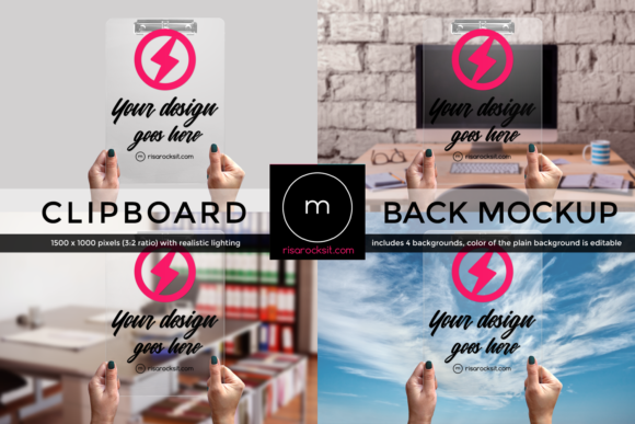 Clear Clipboard Back with Hand Mock Up Graphic Product Mockups By RisaRocksIt