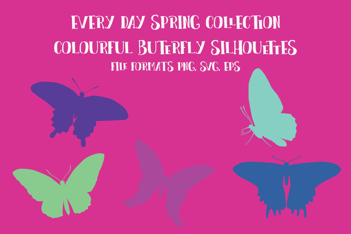 Download Free Colourful Butterfly Silhouettes Graphic By My Little Black Heart for Cricut Explore, Silhouette and other cutting machines.