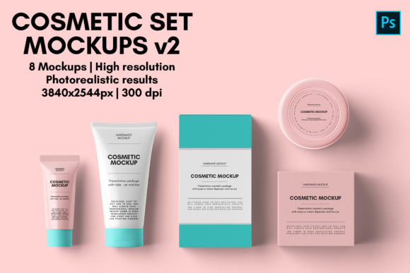 Cosmetic Set Mockups V2 - 8 Views Graphic Product Mockups By illusiongraphicdesign
