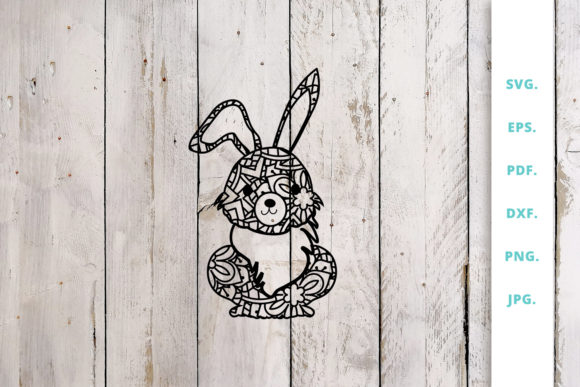 Print on Demand: Cute Bunny out of Mandala 1 Graphic Crafts By Sintegra