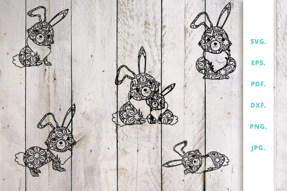 Print on Demand: Cute Bunny out of Mandala Bundle Graphic Crafts By Sintegra