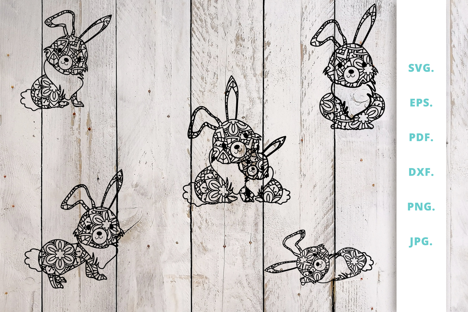 Download Free Cute Bunny Out Of Mandala Bundle Graphic By Sintegra Creative for Cricut Explore, Silhouette and other cutting machines.
